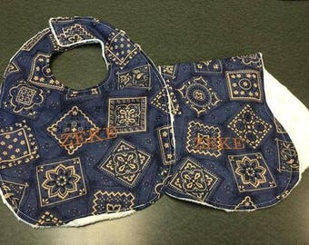 Blue Bandana Bib & Burp Rag Baby Set