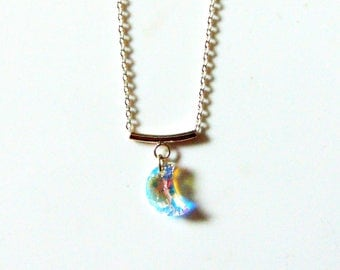 Sterling Silver Swarovski Crystal Moon Pendant