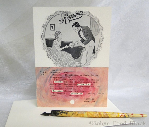 Altered Library Card Greeting Card - Valentine or Romantic Card with Pocket and Vintage Illustration