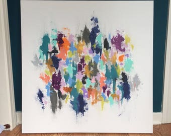 30x30, 1 3/8 depth abstract, colors customizable as well as canvas size!