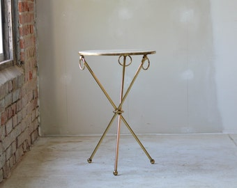Brass Marble Gueridon Occasional Table