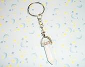 Opal Crystal Quartz Keychain, Pastel Goth Opalite Crystal Point Key Chain