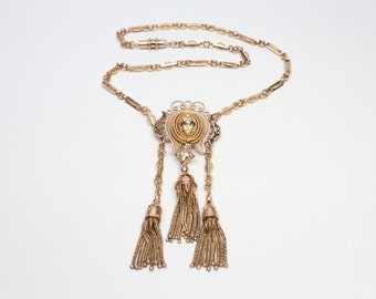 Victorian 14k Gold Tassel Necklace - Perfect Condition - All Original