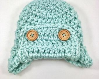 Baby hat, crochet baby hat, baby boy Aviator hat, crochet baby boy hat, crochet hat