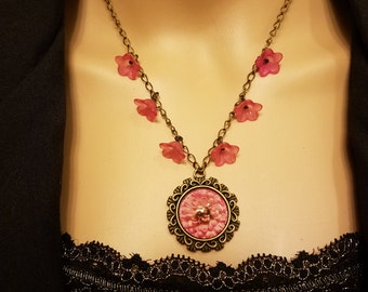 Necklace Pink Flower Bronze Filigree Pendant