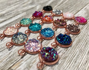 Rose Gold Druzy Necklace, 16 Druzy Colors, Bridesmaid Gift, Easter Gift, Faux Druzy