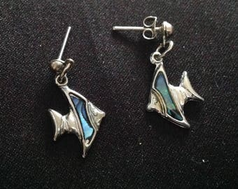 Vintage Inlaid ABALONE FISH EARRINGS ( Pierced)