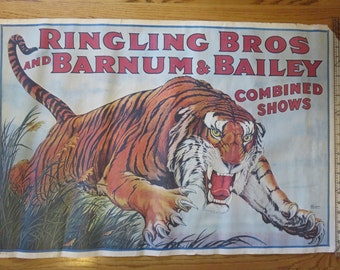 Great Ringling Brothers and Barnum and Bailey Circus Poster- Combined Shows- Tiger Leaping from Grass