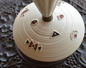 Unique Mid Century Modern Lamp White Porcelain & Brass South Western Design 50's 60's Genie Bottle