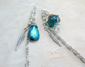 Asymmetric Lampwork Earrings, Wire Wrap Earrings, Crystal Earrings, Swarovski Elements,  Sparkly Earrings,  Blue Earrings