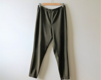 90s Truly Petite Pants Dark Olive Tailored High Waisted Cigarette Trousers Women's US Size Medium