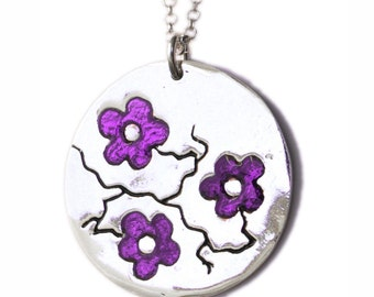 Violet Cherry Blossom necklace. Sterling silver