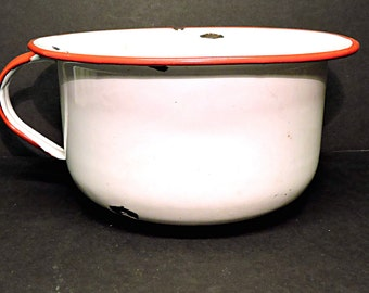 White and Red Enamelware Garden Planter Vintage Handled Chamber Pee Pot