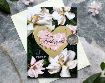 Scratch off Be My Bridesmaid Reveal Wedding Greeting Cards, Bridesmaid / Maid of Honour