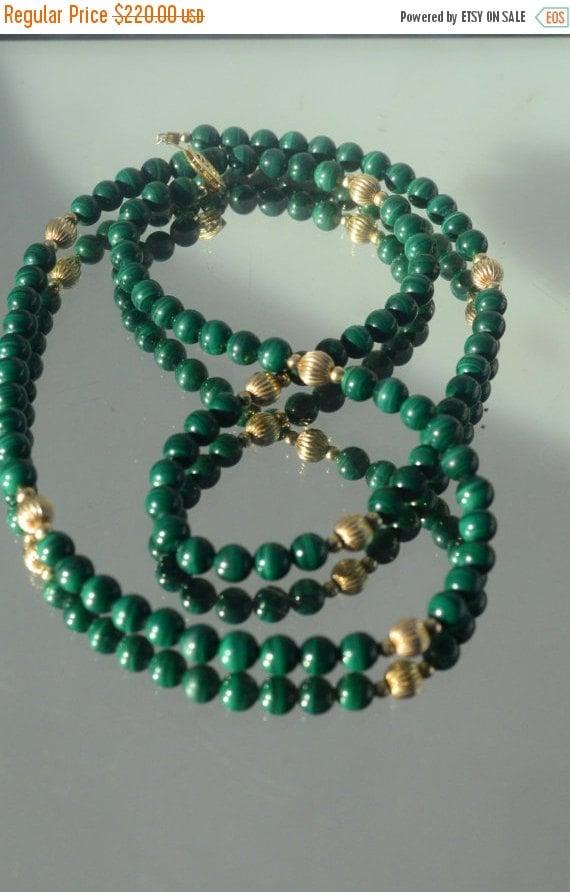 SALE 40% OFF Genuine Gemstone Malachite Strand 14k 14kt 14ct 14 K Kt Yellow Gold Natural Untreated Necklace