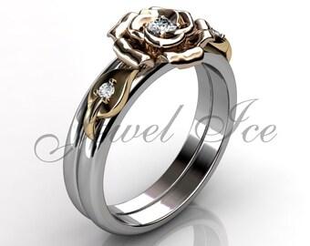 Engagement Ring Set - 14k White Yellow and Rose Gold Diamond Unique Flower Wedding Band Engagement Ring Set Bridal Set ER-1127-8