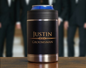 Personalized Groomsmen Gifts, Custom Groomsman Gifts, Set of 5, Black, Gold, Can Coolers