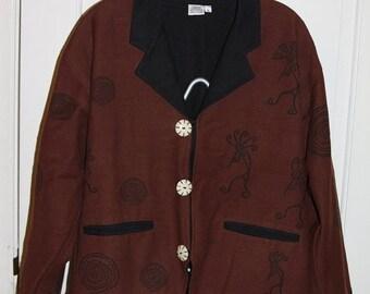 Kokopelli Jacket, Native American blazer, 1970s Women's Cotton Jacket, brown & black jacket,  Venus Imports, Size Large, Kokopelli clothing