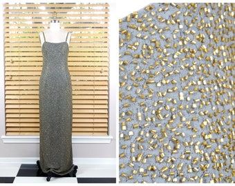 GLAM Gold Beaded Gown // Gray Pewter Gold Beaded Dress // Fully Embellished Gown