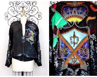 CROWN & CREST Sequin Bomber Jacket // Royalty Sequined Jacket // Black Fully Embellished Novelty Jacket