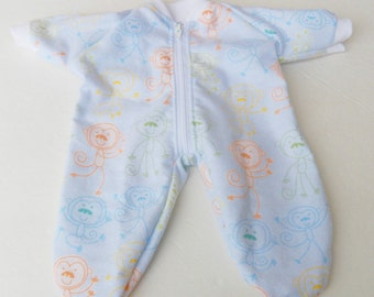 """bitty baby clothes, doll girl or 15"""" twin, american made by adorabledolldesigns, pajamas pjs sleeper, flannel, blue green white monkey print"""
