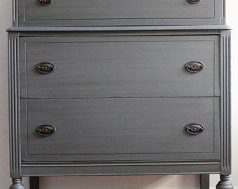 Vintage Steel Grey Metallic Dresser/Chest of Drawers/Bureau