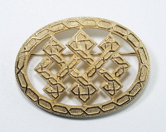 Christian Dior Brooch, Christian Dior Pin, Christian Dior Jewelry, Vintage Christian Dior Germany Celtic Endless Knot Oval Gold Pin