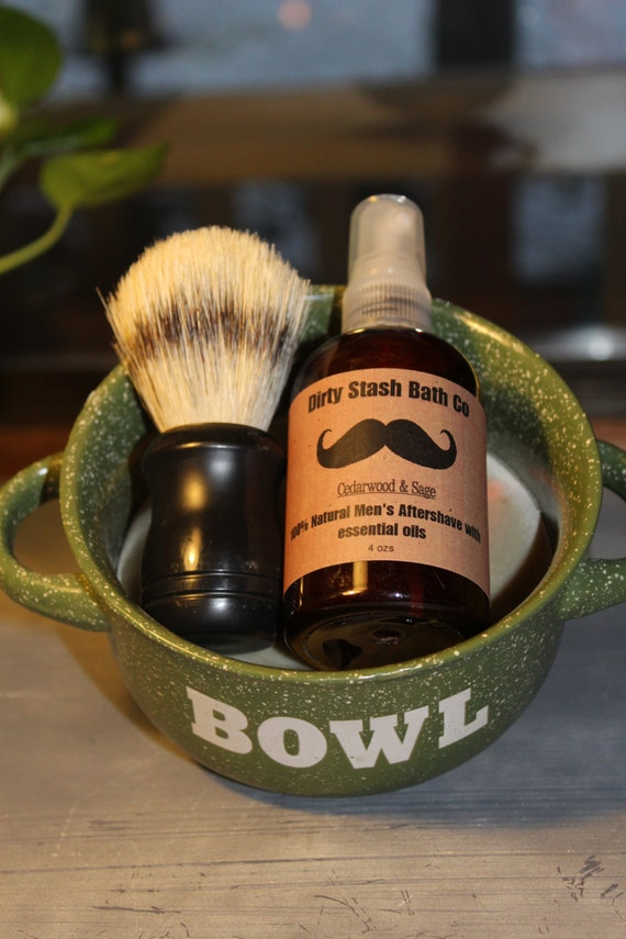 Ceramic Handled Bowl  Mens Shave Gift Set Organic Shave Soap Peppermint & Tea Tree essential oils