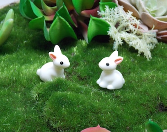 Miniature Fairy Garden Bunnies Set of 2 terrarium dish broken pot gnome pixie faerie