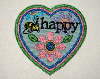 Be Happy Patch - Embroidered Iron-On Patch - Small Heart, Flowers, Bee Patch - Bee Happy Patch - Accessories - Jeans Patch
