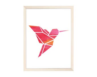 Art Print Origami Hummingbird Pink