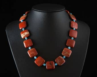 Red Stone Necklace - Chunky Statement Red Jasper and Turquoise Beaded Gemstone Necklace