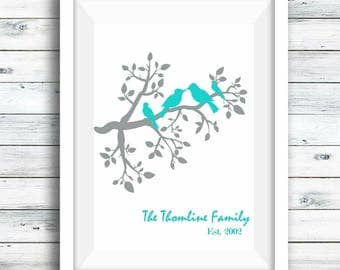 Printable Digital Download, Personalised Family tree, Bird Print, Family print, Mother's Day, personalised print, Gift for her, Baby shower