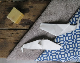 Moby dick, Bath toys, design for kids, origami, folded toys for kids, white whale