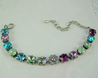 Swarovski Crystal Bracelet, Tennis Bracelet, Cup Chain Bracelet, Chaton Bracelet, 8mm Crystal Set Bracelet, Rivoli Crystal Bracelet, 39ss