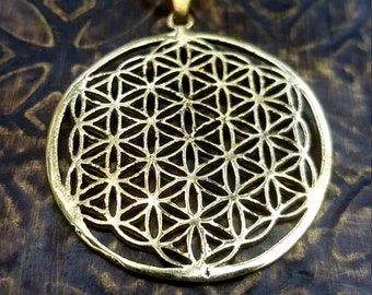 Gold Flower of Life Sacred Geometry Pendant Necklace