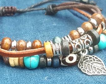 Leather Boho Leaf Charm Bracelet