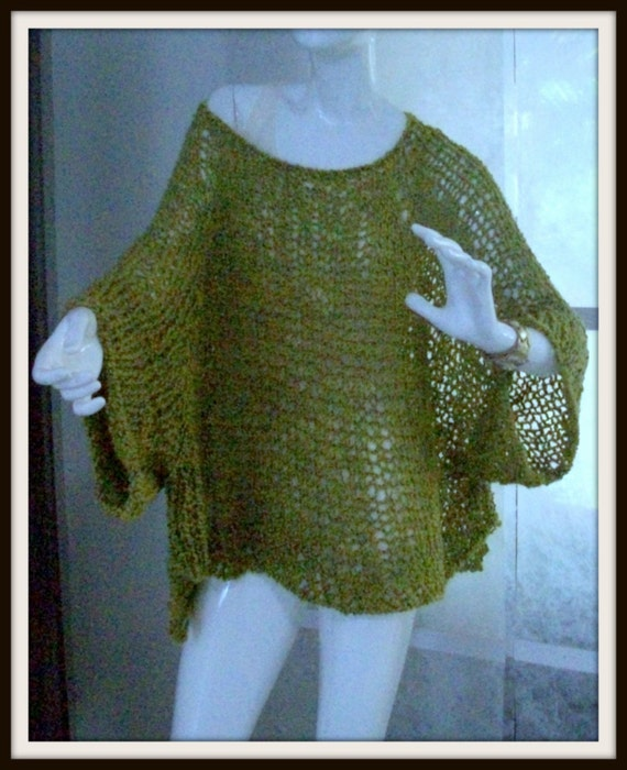 Knitting Pattern For Poncho With Sleeves : SWEATER WOMANS KNITTED Poncho With Sleeves by ...