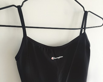 Deadstock Champion low back swimsuit | vintage champion , champion logo, backless , low back , bodysuit , tumblr , trend, black swimsuit