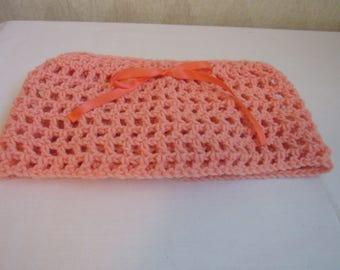 Newborn to 18 Months Orange Diaper Cover with Attached Skirt, Hand Made, Crocheted Diaper Cover, Crocheted Skirt