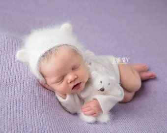 Newborn {Little Bear & Me} Knit Angora Bear Bonnet and Bear Stuffy Set, Newborn Photography Prop, Several Color Options