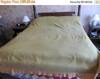 Year end Clearance Bloomingdales 100% Wool Blanket The Blanket Shop Made in England Sage Green Wool Blanket Full Size Blanket Double Bed Woo