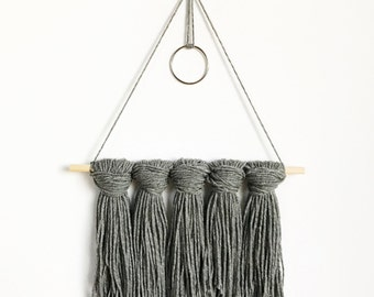 Charcoal Grey Tapestry / Yarn Wall Hanging - Ready to Ship