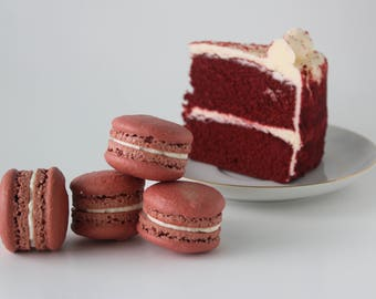 French Macarons Red Velvet Cake