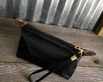 Cosmetic Bag/Black Nylon Fabric Cosmetic Bag with Three Initial Monogram