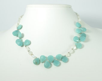 Necklace of blue and white semi-precious gemstones - amazonnite and moonstone