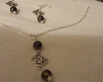 Celtic necklace and earrings with mystic smokey quartz no. 2
