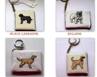 Cross Stitch Dog Keychains #3