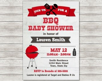 BBQ Baby Shower Invitation, Cookout Baby Shower Invitation - Digital File (Printing Services Available)