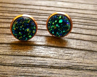 Rose Gold Plated Sparkly Faux Druzy Stud Earrings Lead & Nickle Free